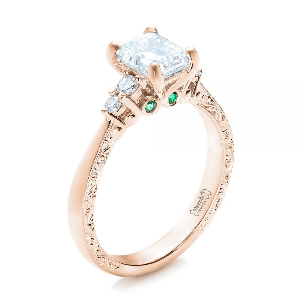 18k Rose Gold 18k Rose Gold Custom Diamond And Emerald Engagement Ring - Three-Quarter View -  101438