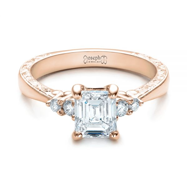 18k Rose Gold 18k Rose Gold Custom Diamond And Emerald Engagement Ring - Flat View -  101438