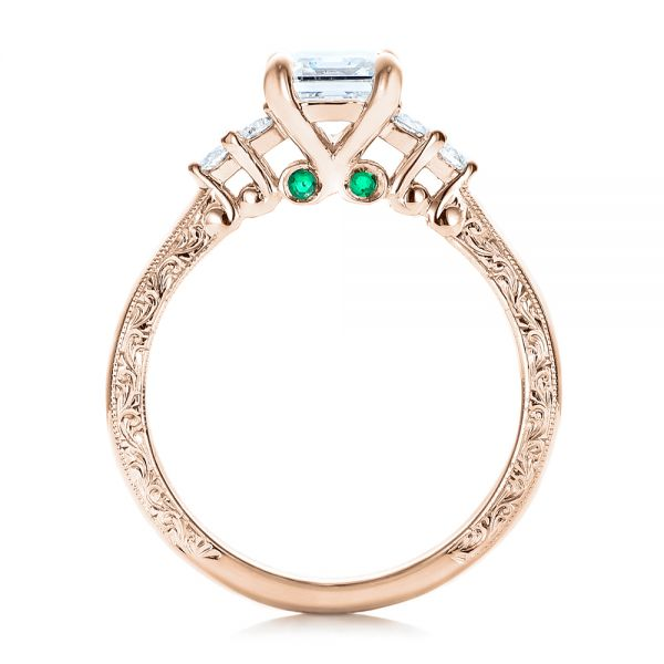 18k Rose Gold 18k Rose Gold Custom Diamond And Emerald Engagement Ring - Front View -  101438