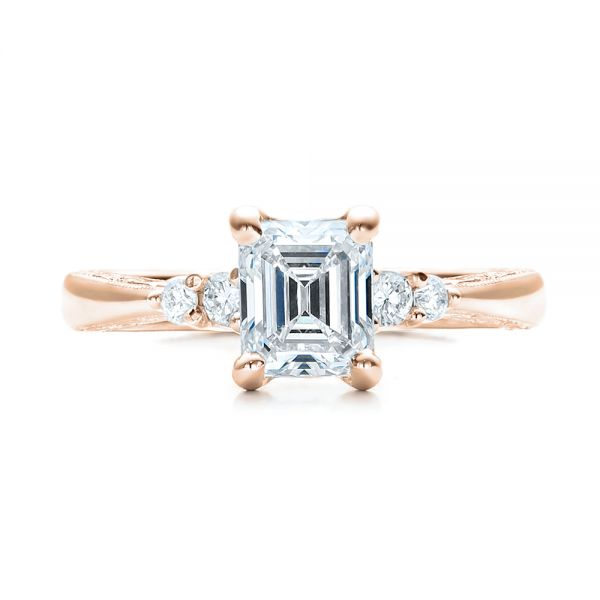 18k Rose Gold 18k Rose Gold Custom Diamond And Emerald Engagement Ring - Top View -  101438