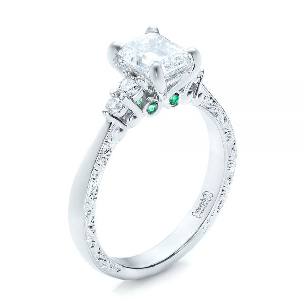 14k White Gold Custom Diamond And Emerald Engagement Ring - Three-Quarter View -  101438