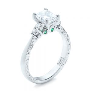 Custom Diamond and Emerald Engagement Ring - Image