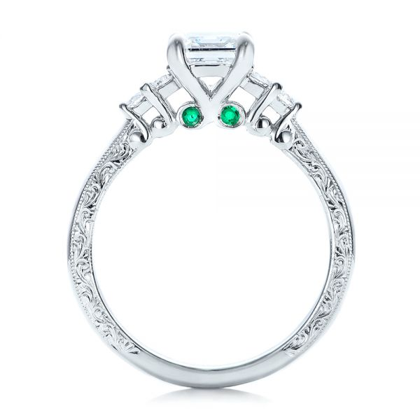 14k White Gold Custom Diamond And Emerald Engagement Ring - Front View -  101438