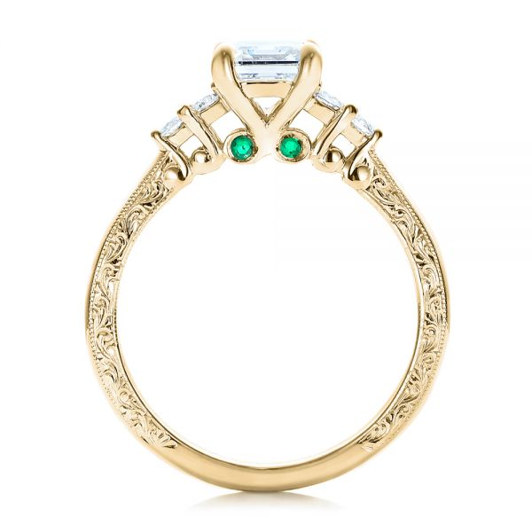 14k Yellow Gold 14k Yellow Gold Custom Diamond And Emerald Engagement Ring - Front View -