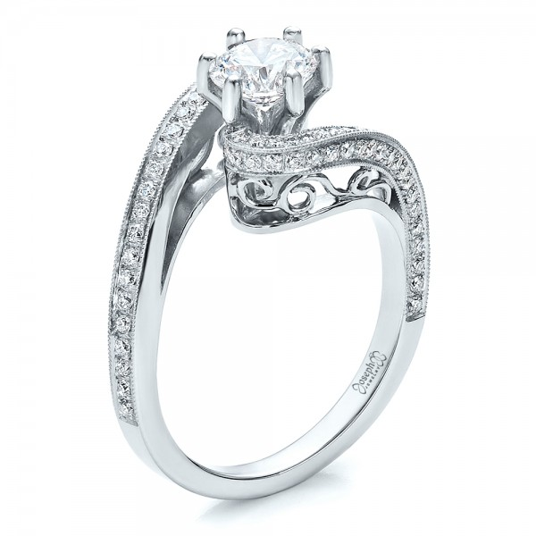 Custom Diamond and Filigree Engagement Ring