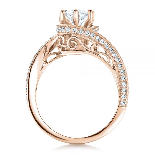 14K Rose Gold Custom Diamond and Filigree Engagement Ring - Front View -  100129 - Thumbnail