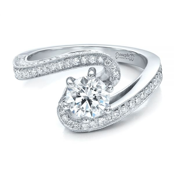 18k White Gold 18k White Gold Custom Diamond And Filigree Engagement Ring - Flat View -