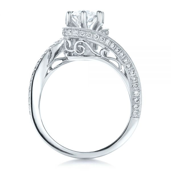 18k White Gold 18k White Gold Custom Diamond And Filigree Engagement Ring - Front View -