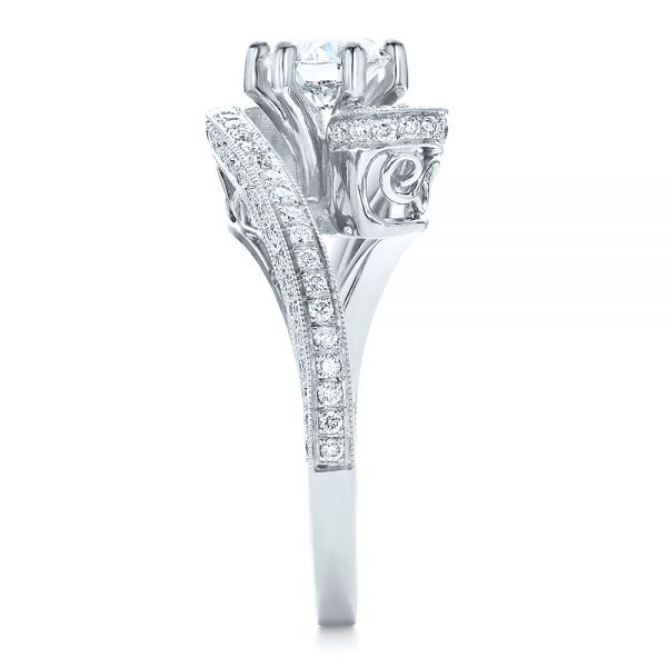 18k White Gold 18k White Gold Custom Diamond And Filigree Engagement Ring - Side View -