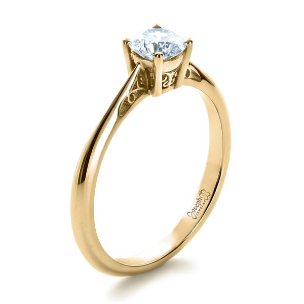 14k Yellow Gold 14k Yellow Gold Custom Diamond And Filigree Engagement Ring - Three-Quarter View -