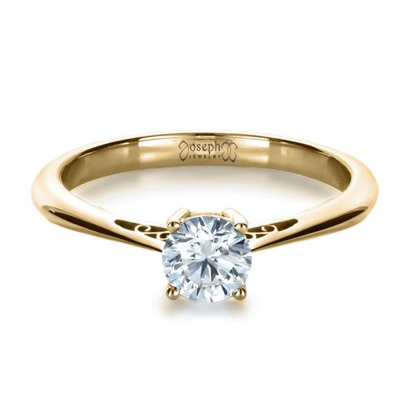 14k Yellow Gold 14k Yellow Gold Custom Diamond And Filigree Engagement Ring - Flat View -