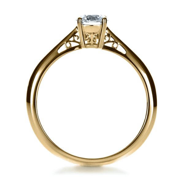 14k Yellow Gold 14k Yellow Gold Custom Diamond And Filigree Engagement Ring - Front View -