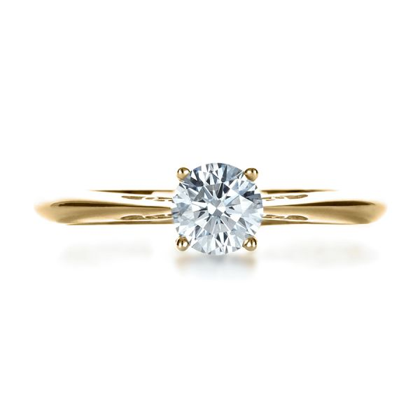 14k Yellow Gold 14k Yellow Gold Custom Diamond And Filigree Engagement Ring - Top View -