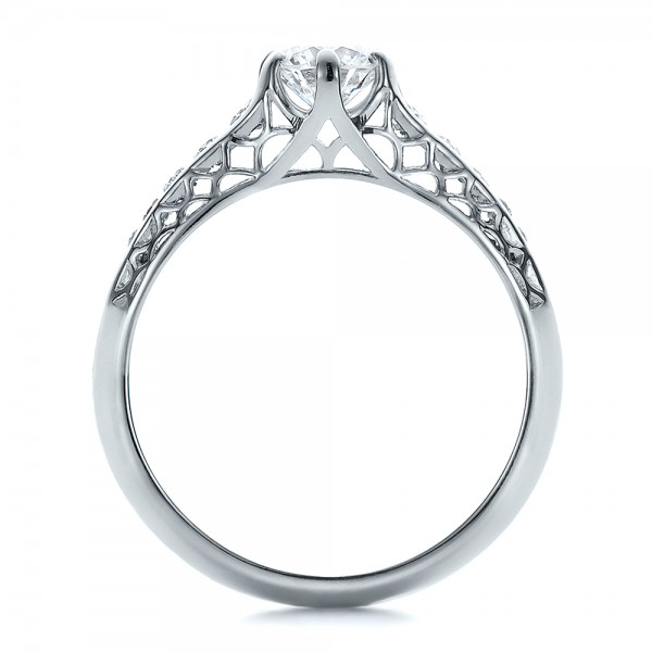 ... Custom Diamond and Filigree Engagement Ring - Finger Through View ...