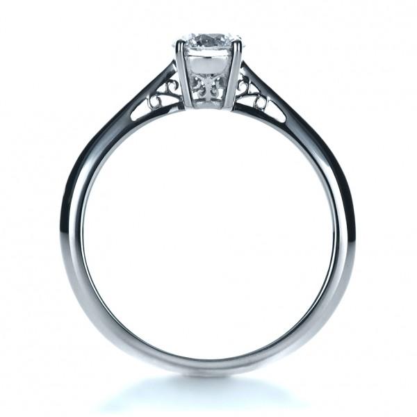 Custom Diamond and Filigree Engagement Ring - Finger Through View