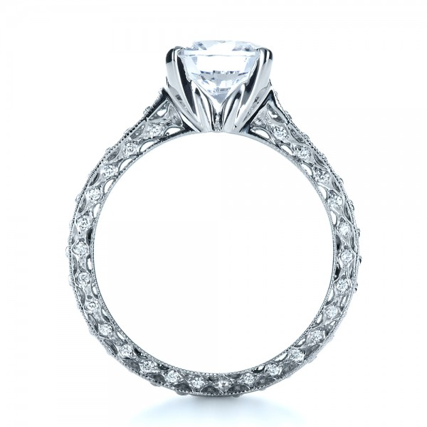 Custom Diamond and Filigree Engagement Ring - Front View -  1290 - Thumbnail