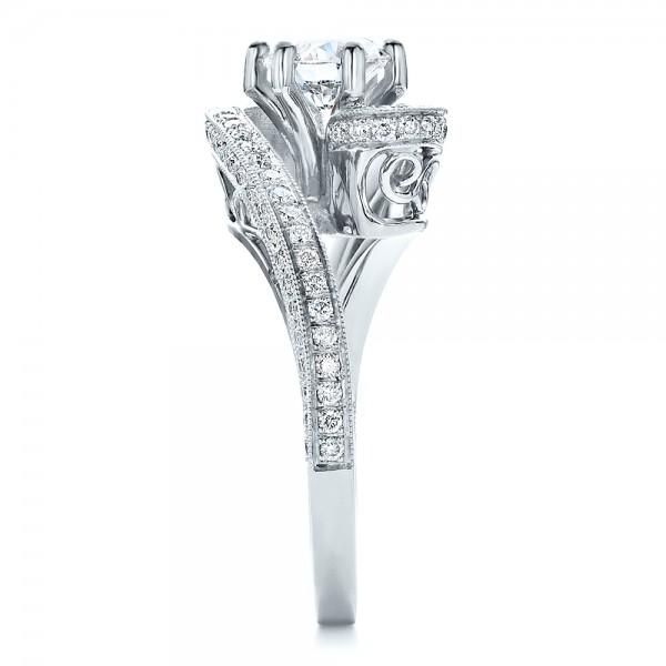 Custom Diamond and Filigree Engagement Ring - Side View