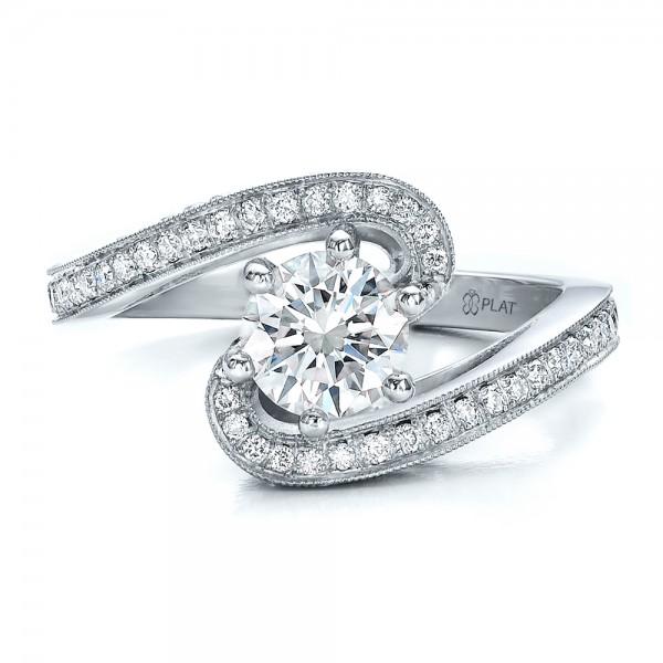 Custom Diamond and Filigree Engagement Ring - Top View
