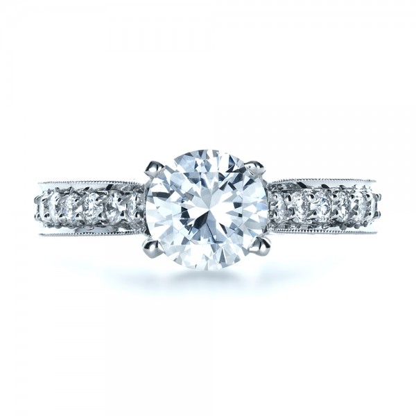 Custom Diamond and Filigree Engagement Ring - Top View -  1290 - Thumbnail