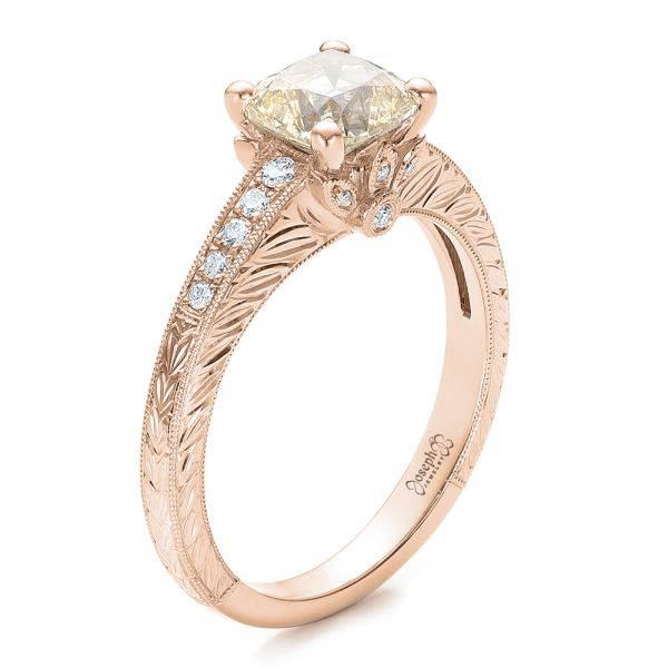 14k Rose Gold 14k Rose Gold Custom Diamond And Hand Engraved Engagement Ring - Three-Quarter View -
