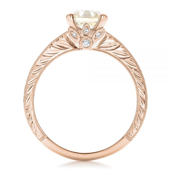18k Rose Gold 18k Rose Gold Custom Diamond And Hand Engraved Engagement Ring - Front View -
