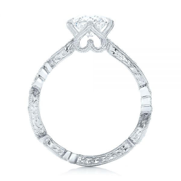 Custom Diamond and Hand Engraved Engagement Ring - Front View -  102736 - Thumbnail