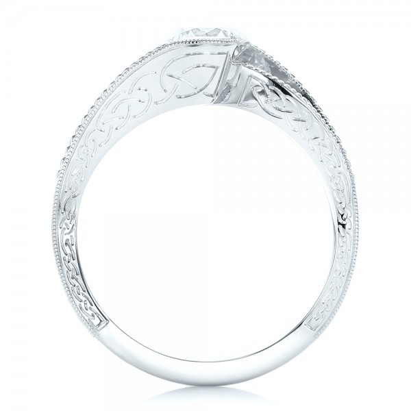 Custom Diamond and Hand Engraved Engagement Ring - Finger Through View