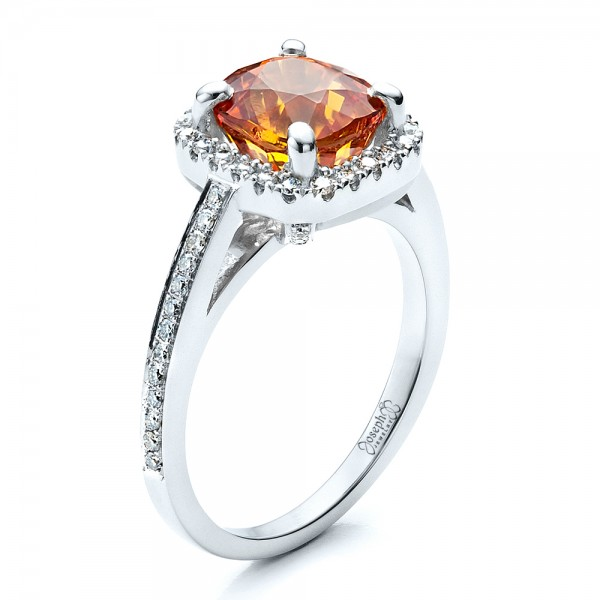 Custom Diamond and Orange Sapphire Engagement Ring