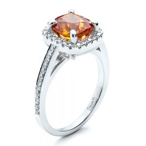 Custom Diamond and Orange Sapphire Engagement Ring - Image