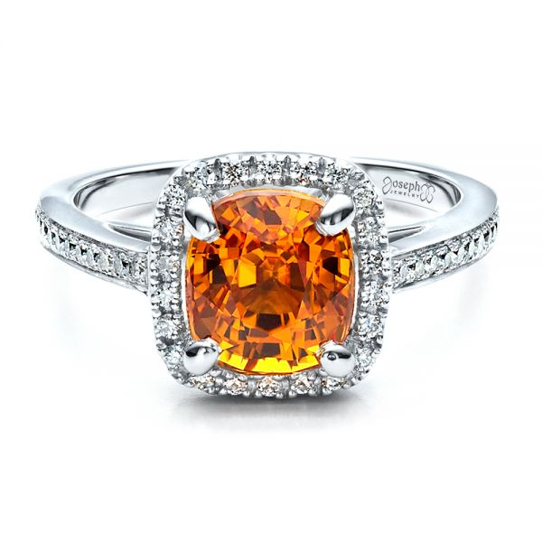 Platinum Custom Diamond And Orange Sapphire Engagement Ring - Flat View -