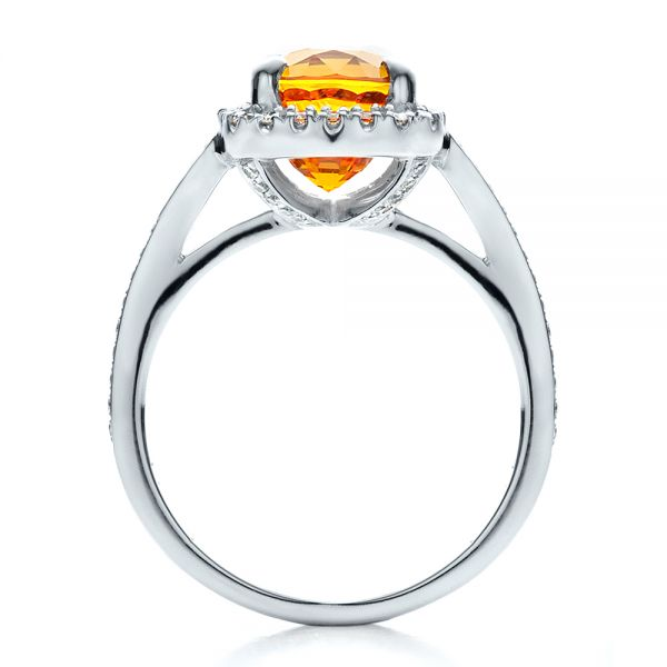 Platinum Custom Diamond And Orange Sapphire Engagement Ring - Front View -