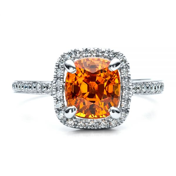 Platinum Custom Diamond And Orange Sapphire Engagement Ring - Top View -