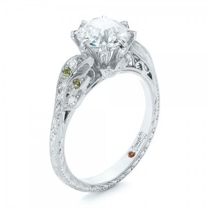 Custom Diamond and Peridot Engagement Ring