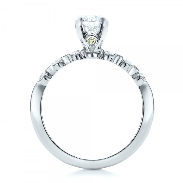 Custom Diamond and Peridot Engagement Ring - Finger Through View