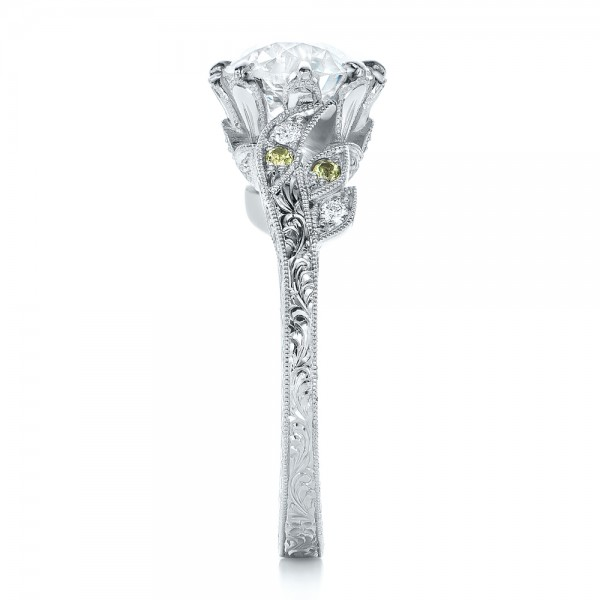 Custom Diamond and Peridot Engagement Ring - Side View
