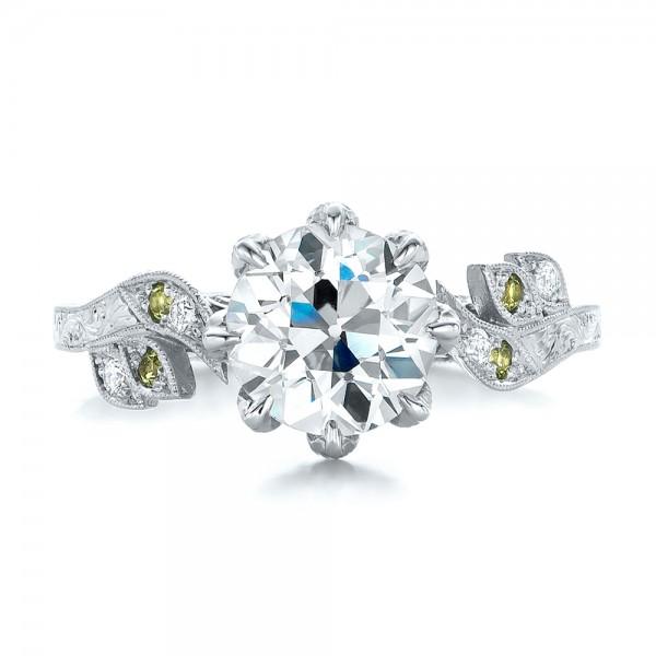 Custom Diamond and Peridot Engagement Ring - Top View
