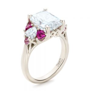 Custom Diamond and Pink Sapphire Engagement Ring - Image