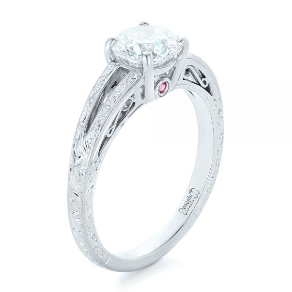 Platinum Custom Diamond And Pink Sapphire Engagement Ring - Three-Quarter View -