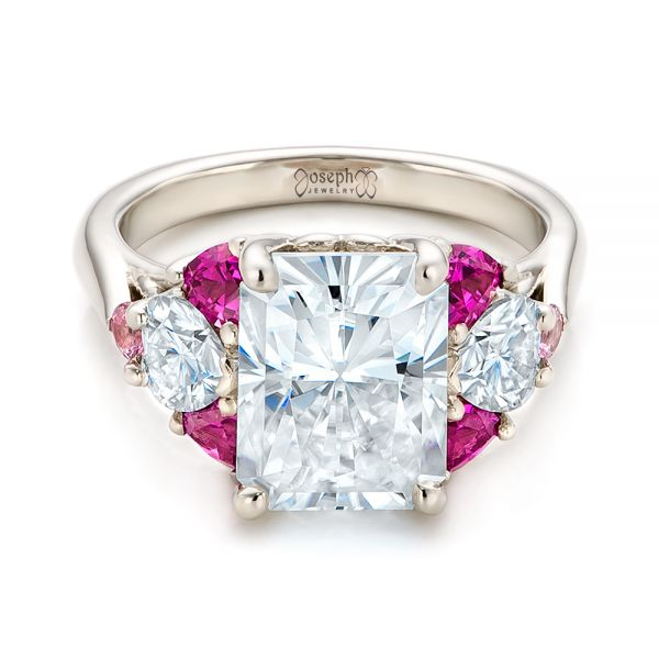 14k White Gold Custom Diamond And Pink Sapphire Engagement Ring - Flat View -