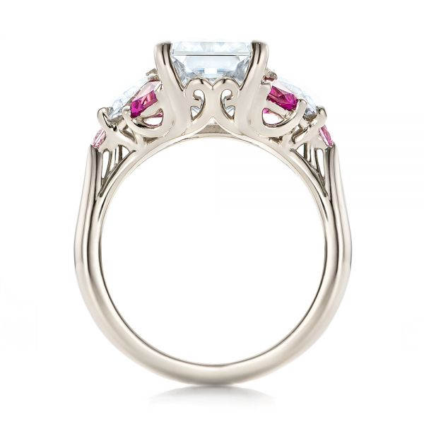 14k White Gold Custom Diamond And Pink Sapphire Engagement Ring - Front View -