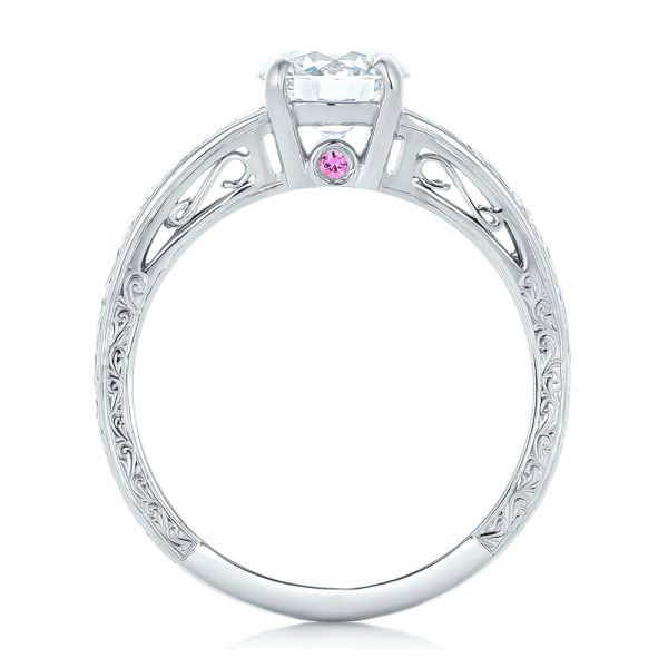 Platinum Custom Diamond And Pink Sapphire Engagement Ring - Front View -