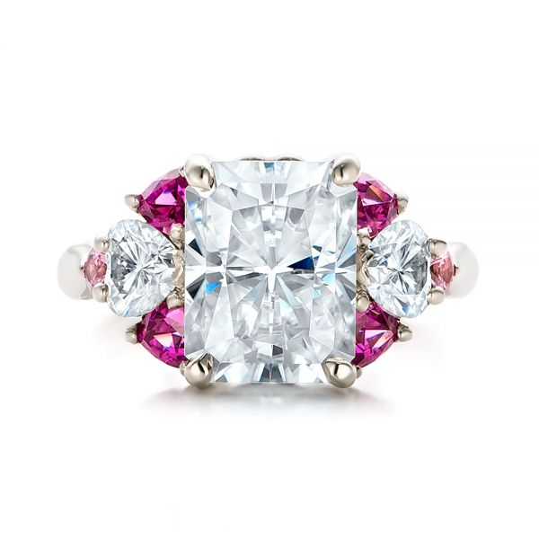 14k White Gold Custom Diamond And Pink Sapphire Engagement Ring - Top View -
