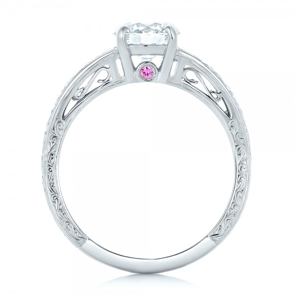 Custom Diamond and Pink Sapphire Engagement Ring - Finger Through View