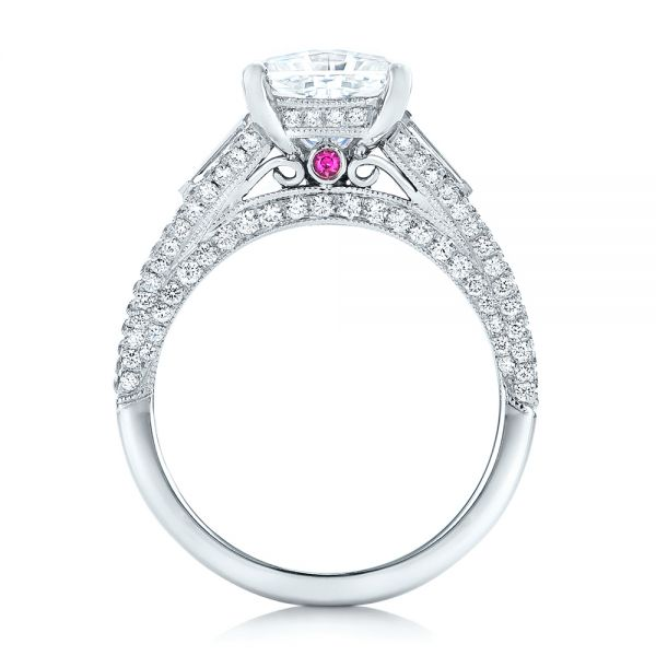 18k White Gold Custom Diamond And Pink Tourmaline Engagement Ring - Front View -