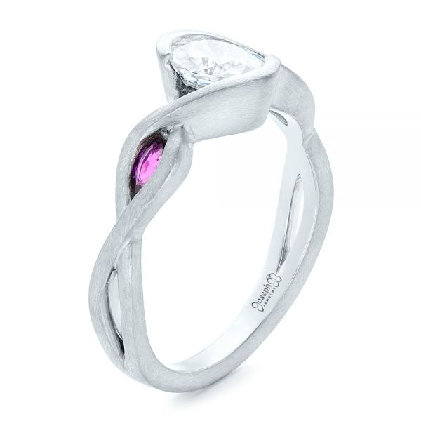 Custom Diamond and Purple Sapphire Engagement Ring - Image