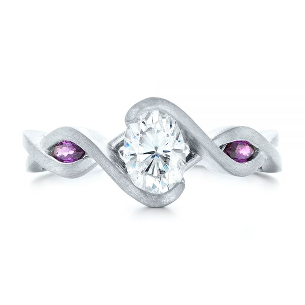 Custom Diamond and Purple Sapphire Engagement Ring - Top View -  102472 - Thumbnail