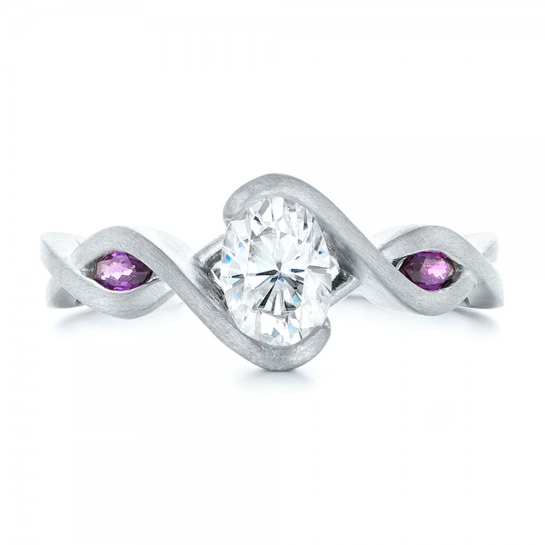 Custom Diamond and Purple Sapphire Engagement Ring - Top View