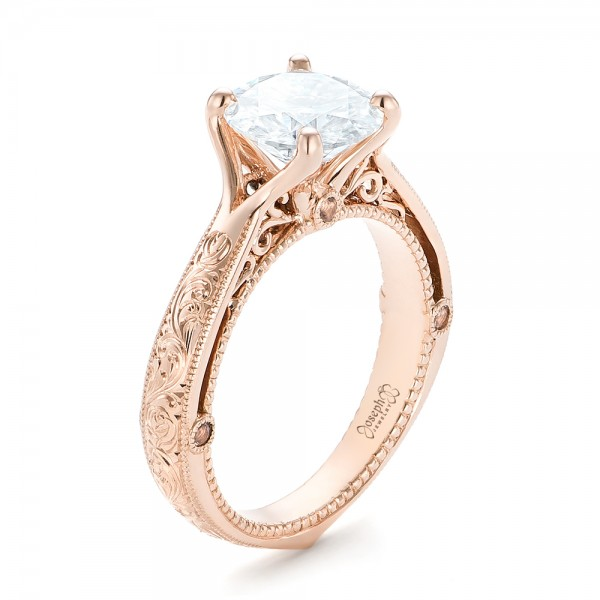 custom diamond and rose gold engagement ring - Rose Wedding Rings