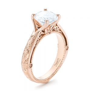 Custom Diamond and Rose Gold Engagement Ring - Image