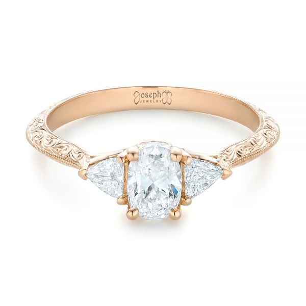 Custom Diamond and Rose Gold Engagement Ring - Flat View -  102352 - Thumbnail